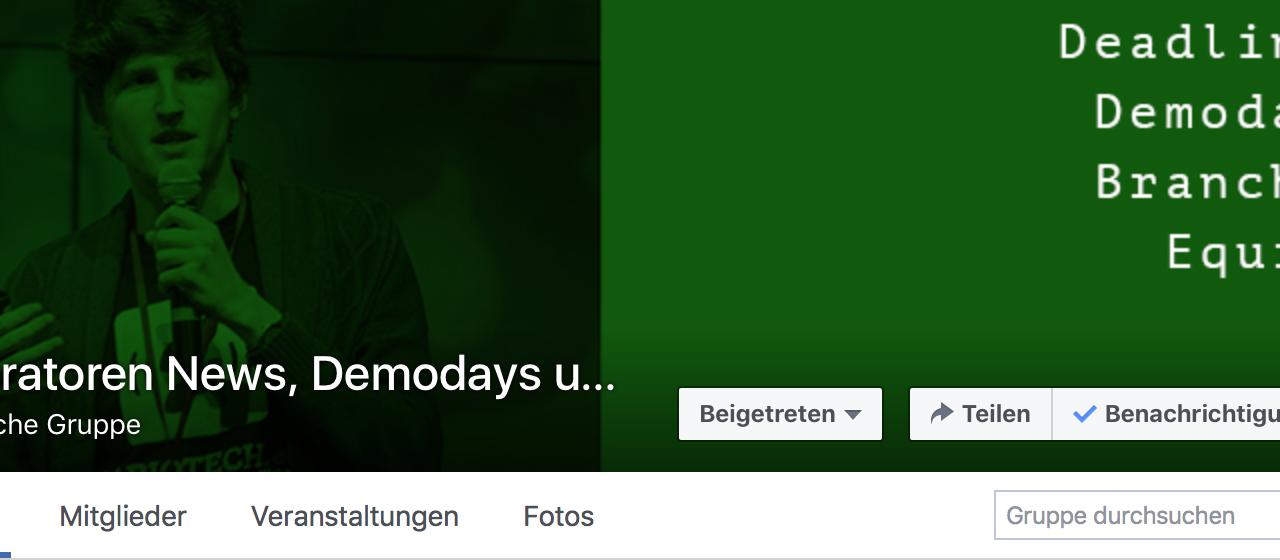 FB Gruppe/ Seite zu Acceleratoren und Inkubatoren gestartet